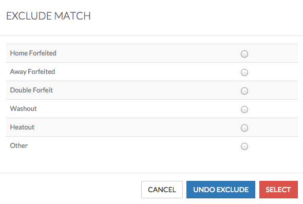 choose reason for match not played